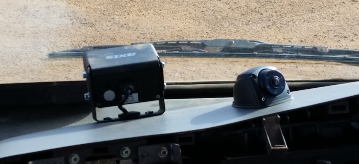 Front and driver cameras on dash